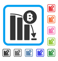bitcoin panic fall chart framed icon vector image
