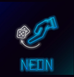 Blue glowing neon line human hand throwing game vector