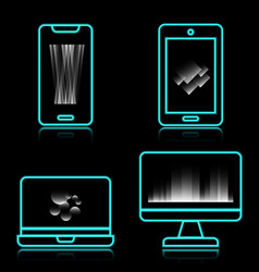 blue neon technology icons with reflect on black vector image