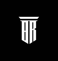 br monogram logo with emblem style isolated vector image