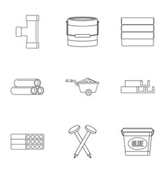 Building material icon set outline style vector