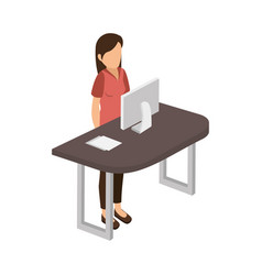 Businesswoman in the office isometric avatar vector