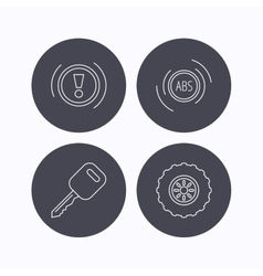 Car key abs and wheel icons vector image