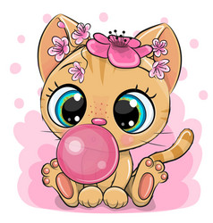 cartoon kitten with bubble gum on a pink vector image