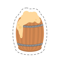 Cartoon st patricks day wood barrel beer vector