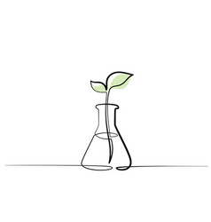 chemical lab retort with sprout of plant vector image