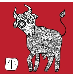 Chinese Zodiac Animal astrological sign Cow vector image