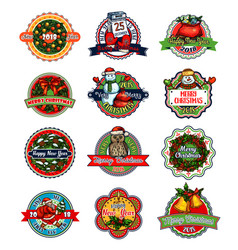 Christmas and new year holiday gift label or badge vector
