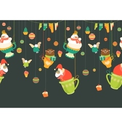 Christmas cartoon seamless pattern vector