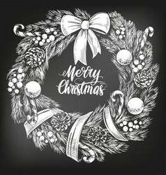 Christmas wreath calligraphy lettering text symbol vector