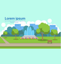 city park view outdoor fountain wooden bench green vector image