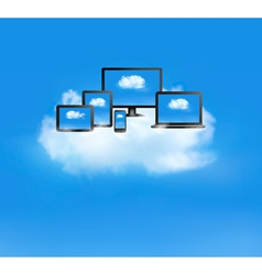 Cloud computing concept all computer devices and vector