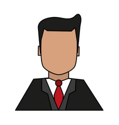 Color image half body faceless man with executive vector