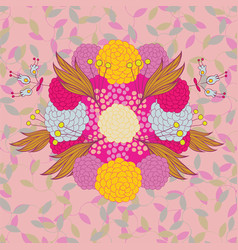 colorful hand - drawn floral pattern vector image