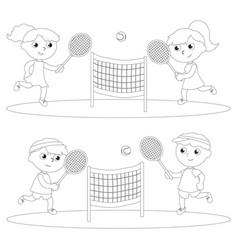 coloring children playing tennis vector image
