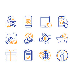 Communication cashback and present icons set vector