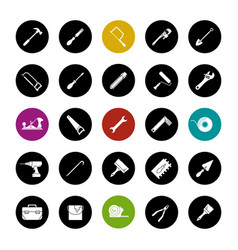 Construction tools glyph icons set vector