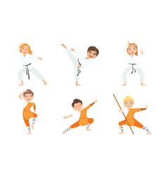 cute boy and girls doing karate and jiu jitsu in vector image