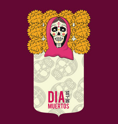day of dead card vector image