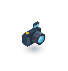Digital photo camera isometric flat icon 3d vector