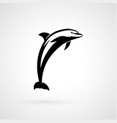 Dolphin logo sign black isolated vector