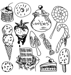 Drawn sweet food vector