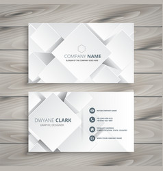 Elegant white business card with 3d shapes vector