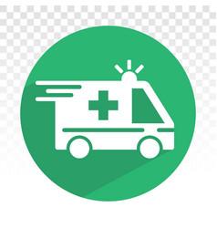 Emergency ambulance vehicle services flat icons vector