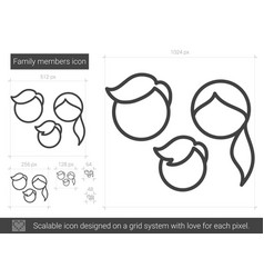 Family members line icon vector
