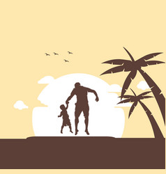 father and son jumping vector image