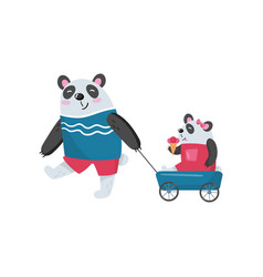 father panda pulling his baby girl in toy wagon vector image