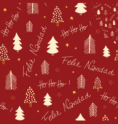 feliz navidad and hoho hand lettering and vector image