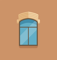 flat window with facade cornice on brown wall vector image