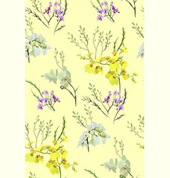 floral seamless pattern with different flowers vector image