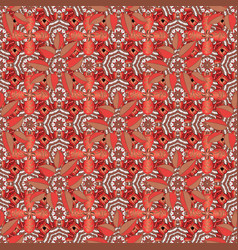 Flower pattern seamless on brown orange and red vector