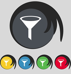 Funnel icon sign Symbol on five colored buttons vector