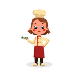 girl professional chef character holding plate vector image