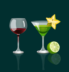 Glass of red wine and cocktail drink with vector