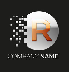 Golden letter r logo symbol in silver pixel circle vector