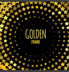 halftone frame with gold stars ornament for gifts vector image
