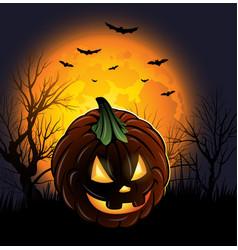 Halloween jack-o-lantern pumpkin background design vector