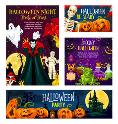 halloween monster night party invitation banner vector image