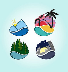 Hand drawn travel icons mountains tropics vector