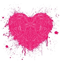 Heart with handdrawn pattern vector