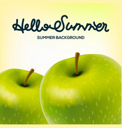 Hello summer poster with apples vector