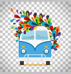 Hippie flowers bus on transparent background vector