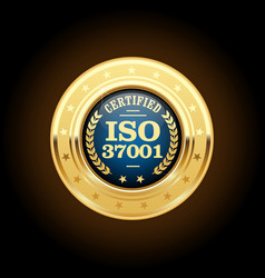 ISO 37001 - Anti-bribery management systems medal vector image