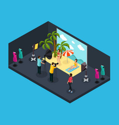 isometric photographing process concept vector image