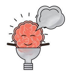 kawaii brain icon vector image