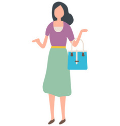 Lady in dress choosing clothes shopping vector